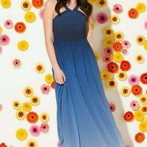 Blue/powerblue fade dress with clamp